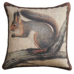 Squirrel On Branch Pillow.
