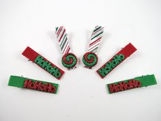 Christmas Hair Clips - Red and Green Hair Clip Set - Holiday Hair Clip Set - Winter Hair Clips - Red Green White Snowflake Hair Clips. $7.50, via Etsy.