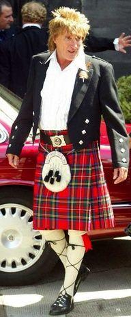 Rod Stewart in his red tartan kilt