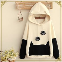 Cute cat claws hooded fleece pullover