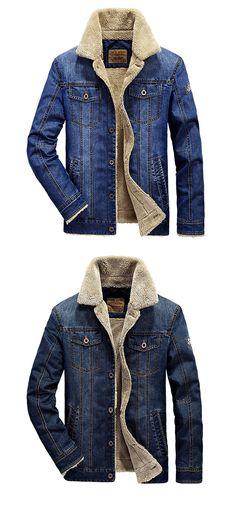 US$62.24 Plus Size Fashion Denim Jacket Multi Pockets Lapel Collar Fleece Jacket for Men#mensfashion#JeanJacket #winterfashion