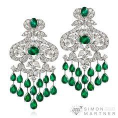 Orlov Jewelry Emerlad and Diamond earrings