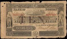Bank of Bombay was established in 1840. They issued currency notes between 1850-1860. The Currency Act of 1861 banned all private or presidency banks to issue paper promise. This banknote is the last series issued by the Bank of Bombay. It is dated 1st November 1860. The use of prefix system in the early issues of India is also seen in the last series of Bank of Bombay banknotes shown above.