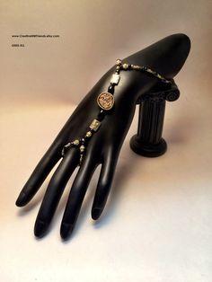 Gold Slave Bracelet and Ring Embellishment and Czech Glass Beads Stretch Bracelet Hand Bracelet by CreativeNWFriends on Etsy
