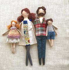 The family dolls are dress-up cloth dolls made for active, quiet and imaginative play for children of all age.  Made in a pet free, smoke free environment, she is approximately 13 inches (33cm) tall. The clothes are closed with Velcro making them easy to put on and take off. . Their bodies may be cleaned with a damp cloth. Gentle play is recommended.  The clothes are made with new ,vintage and recycled fabric.  The family comes with the following  Mommy doll with cotton dress Daddy doll with…