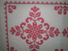 Antique Redwork Quilt Amazing embroidery red by VintageHand, $168.00 + $38 shipping