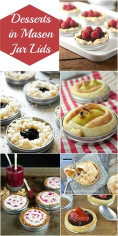 Desserts in Mason Jar Lids - a delicious dessert recipe collection perfect for bridal showers, baby showers, shabby chic party and more! Such a unique idea and the perfect size for a party dessert buffet.