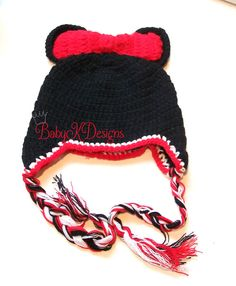 SAVE 15% Crochet Black n Red Minnie Mouse w.Bow  Crochet Beanie Winter Hat for Baby Girls by #BabyKDesigns