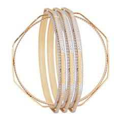 The octagonal shaped gold and minute diamond studded bangles.