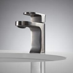 Portico Single-Hole Bathroom Faucet - Pop-Up Drain - No Overflow - Satin Nickel