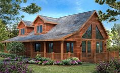Love! the covered front porch, big windows & rustic siding  (Wausau Homes)