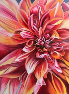 A multilayered, ancient technique of oil painting to achieve this vibrant colorful work of an exotic wet and wild dahlia.