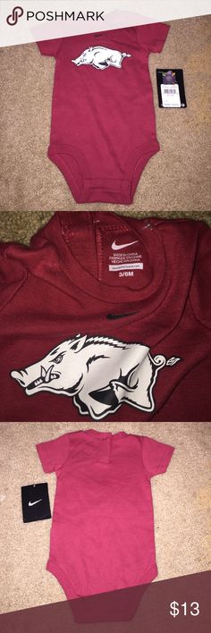 Nike Arkansas Razorbacks Onesie 3/6M New With Tags Nike Arkansas Razorbacks Onesie 3/6M. New With Tags!!!! Officially Licensed Collegiate Products. Nike One Pieces Bodysuits