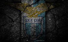 Scarica sfondi Lazio, logo, arte, Serie A, soccer, football club, SS Lazio, asfalto texture
