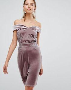 9635dfe68f Little Mistress Off Shoulder Midi Pencil Dress in Velvet with Lace trim at  asos.com