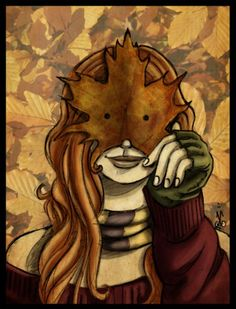 Autumn leaf girl, Mabon art.