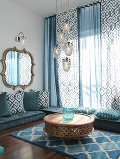 Elegant loloi in Living Room Mediterranean with Prayer Room next to Blue Living Room alongside Floor Seating and Arabic Interior Design Mediterranean Living Rooms, Mediterranean Decor, Living Room Designs, Living Spaces, Living Area, Living Room Seating, Bedroom Seating, Dining Room, Moroccan Decor