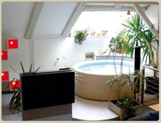Indoor softub with the skylight, so perfect