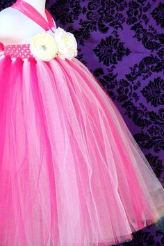 Hot Pink and White Tutu Flower Girl Dress