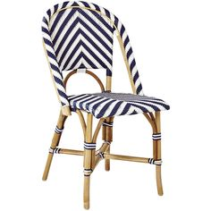 Serena & Lily Chevron Riviera Side Chair ($225) ❤ liked on Polyvore featuring home, furniture, chairs, woven bistro chairs, rattan chair, chevron furniture, bistro chairs and zigzag chair