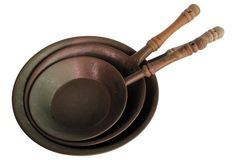 Hammered Copper Pans w/ Handles, S/3