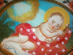 Pittura su Vetro - Bambinello disteso cm 18x13 (Repro) Per maggiori info contattatemi! pincisanti@hotmail.com