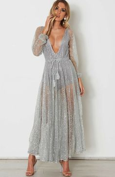 Get Up And Glimmer Sheer Mesh Glitter Long Sleeve Plunge V Neck Maxi Dress  - 2 Colors Available 732683858