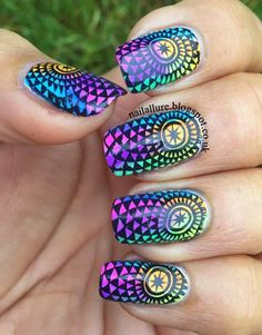 China Glaze Electric Nights - Nail Art #manicure #nailart #stamping #konad #uberchic #chinaglaze #chinaglazeelectricnights http://nailallure.blogspot.co.uk/2015/04/china-glaze-electric-nights-nail-art.html
