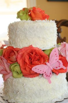 Coconut Cake with real flowers and butterflies