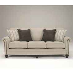 Lowest price online on all Signature Design by Ashley Furniture Milari Microfiber Sofa in Linen - 1300038
