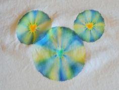 Sharpie tie dye in a Mickey ear pattern with Mickey ears in the centers!