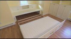 Lit estrade id e de rangement petits espaces chambre lit estrade pinterest - Estrade avec rangement ...