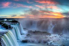 Sunset over Iguazú Falls, Argentina