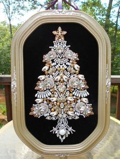 Huge ! Vintage Rhinestone Jewelry Christmas Tree Framed Art 18 x 12 #ArtByTamiRDean #CostumeJewelry