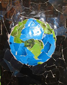 Friday Art Feature - With an Earth Day Twist from Teach Junkie Earth Day Art Project from Magazine collage Art Classroom, Classroom Activities, Art Activities, Recycled Magazines, Recycled Art, Recycled Jewelry, Arte Elemental, Classe D'art, Earth Day Crafts