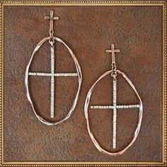Copper Oval Cross Earrings. www.TheLuckyCowgirlShop.com #western #cowgirl #gypsy #boho #fashion