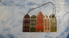 Swedish Stockholm miniature houses - a primitive copy of Stortorget houses in Stockholm Sweden, wall decor panel. $40.00, via Etsy.