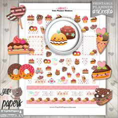 50%OFF - Sweet Stickers, Planner Stickers, Planner Accessories, Bakery, Food, Cake, Dessert, Cupcake, Donut, Use in Erin Condren, Stickers Food Stickers, Printable Planner Stickers, Printables, Cute Planner, Happy Planner, Erin Condren Life Planner, Lovely Shop, Filofax, Sticker Paper