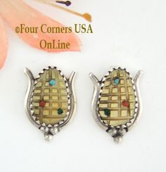 Yellow Shell Corn Sterling Post Earrings Native American Zuni Four Corners USA Online -  NAER-1460, $47.00 (http://stores.fourcornersusaonline.com/yellow-shell-corn-sterling-post-earrings-native-american-zuni-artisan-tracy-bowekaty-naer-1460/)