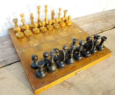 Wooden Chess Set Vintage Complete Soviet Chess 12 by MerilinsRetro