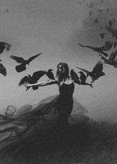 Black Magick: #Woman with #ravens.