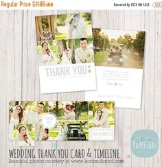 50% OFF Wedding Thank You Card and Facebook by PaperLarkDesigns