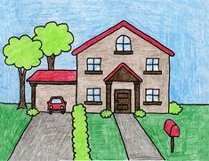 Draw a House · Art Projects for Kids - Inspirational - side. Drawing buildings and any type of architecture calls for a different kind of thinking and wor - Drawing Images For Kids, House Drawing For Kids, Scenery Drawing For Kids, Painting For Kids, Crayon Drawings, Oil Pastel Drawings, Art Drawings, Hipster Drawings, Couple Drawings