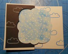 Clouds and stars birthday card.