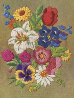 1940s Embroidered flowers digital download jpeg scrapbooking etc