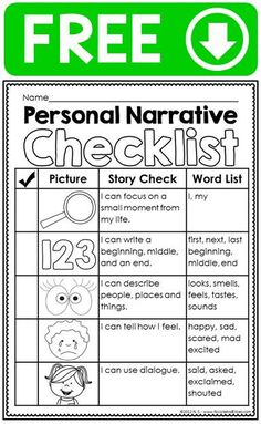 Personal narrative ideas chart, writing checklist, graphic organizer & differentiated primary lined stationary for beginner writers. It is a simple checklist students can use to make sure they included all the parts of a personal narrative. Personal Narrative Writing, Personal Narratives, Informational Writing, Narrative Essay, Writing Strategies, Writing Lessons, Writing Process, Writing Ideas, Kindergarten Writing