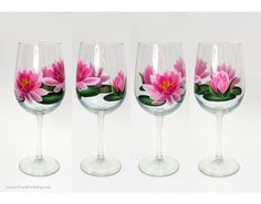 Pink Lotus Water Lilies Hand Painted Wine Glasses Set of 4 Painted Glass Bottles, Hand Painted Wine Glasses, Pink Lotus, Custom Tags, Water Lilies, Memorable Gifts, Decoration, House Warming, Color Schemes