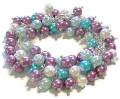 Spring Pearl Cluster Bracelet Turquoise by SeagullSmithJewelry on Etsy