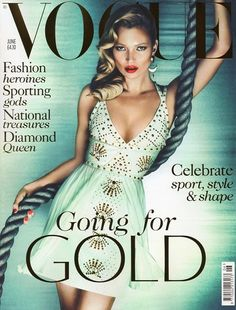 Kate Moss with glossy retro waves on the cover of Vogue UK