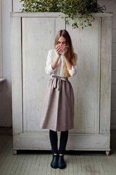 Romantic Linen Apron, LAVENDER, Women Fashion, Hand Made Apron, Women Clothing, Natural Linen, Romantic Apron